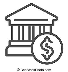Bank building line icon. Bank and dollar vector illustration isolated on white. Architecture outline style design, designed for web and app. Eps 10.