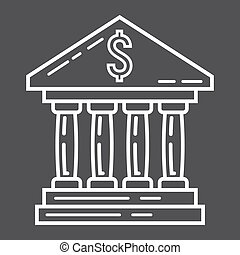 Bank building line icon, business and finance