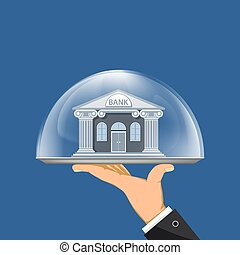 Bank building on a dish under a glass dome