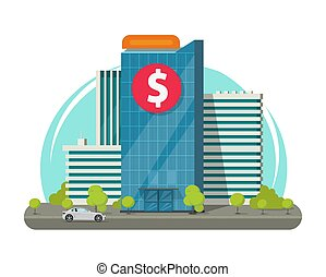 Bank building on city street vector illustration, flat cartoon modern office architecture design isolated image