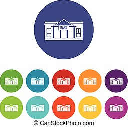 Bank building set icons