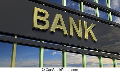 Bank building sign closeup, with sky reflecting in the glass.