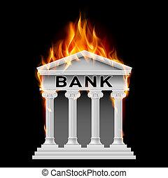 Bank building symbol - Burning Building bank. Illustration...