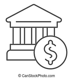 Bank building thin line icon. Bank and dollar vector illustration isolated on white. Architecture outline style design, designed for web and app. Eps 10.