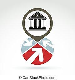 Bank building with arrows vector ic