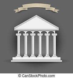 Bank building with banner-ribbon for text