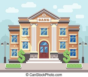 Bank building with cityscape. Business and finance flat vector concept. Business bank, architecture bank, financial building bank, institution bank illustration