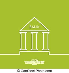 Bank building with columns on a green background. The ...