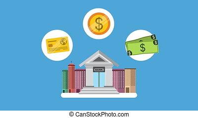 bank building with money dollars economy