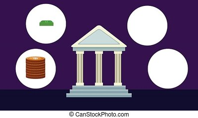 Bank building with services HD animation
