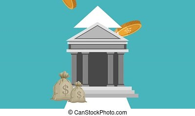 Bank buildings with money symbols HD animation