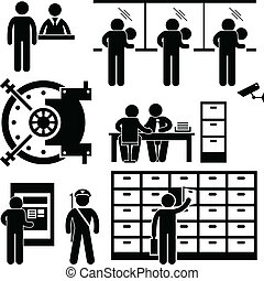 A set of pictograms representing bank employee and customers.