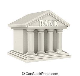 bank, byggnad, isolerat