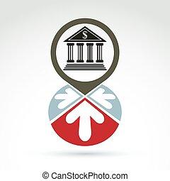 bank, byggnad, med, pilar, vektor, ikon, begreppsmässig, symbol, affär, och, finans, bankrörelse, theme.