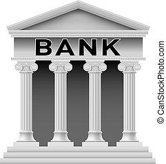 bank, bygning, symbol