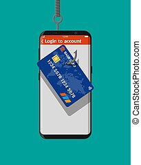 Bank card and fishing hook. - Bank card and fishing hook in ...