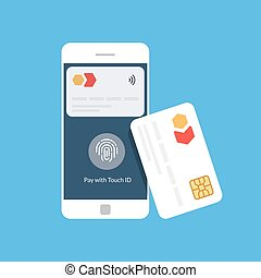 Bank card and mobile payment. Near Field Communication. NFC. Flat vector illustration