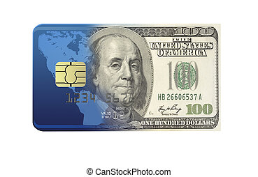 Bank Card Concept - Both dollar bond and bank card isolated...