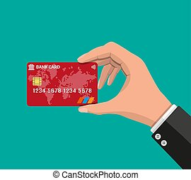 Bank card, credit card in hand