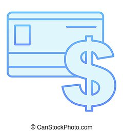Bank card flat icon. Credit card blue icons in trendy flat style. Plastic card and dollar sign gradient style design, designed for web and app. Eps 10.