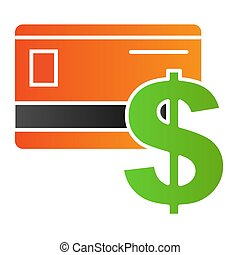 Bank card flat icon. Credit card color icons in trendy flat style. Plastic card and dollar sign gradient style design, designed for web and app. Eps 10.