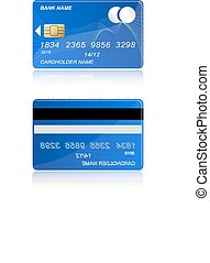 bank card to pay for the blue color on both sides on a white background