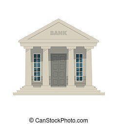 Bank - Cartoon illustration of the bank icon.