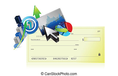 bank check business graph set design illustration