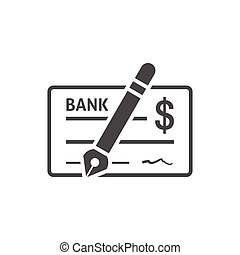 Bank check icon flat - Bank check icon on white background