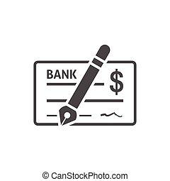 Bank check icon on white background