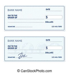 Vectors of vector bank check template bank cheque with empty bank check template set vector pronofoot35fo Image collections