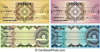 Bank check template. Voucher design for banking business recent vector illustration
