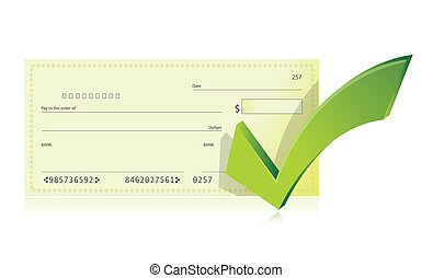 bank checkbook and check mark illustration design over a...