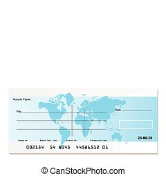 Bank cheque world - illustrated bank cheque with world map...