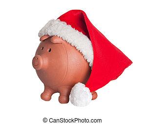 bank, claus, hut, schweinchen, santa