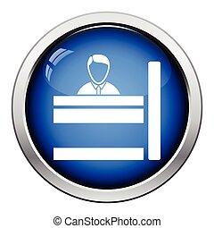 Bank clerk icon. Glossy button design. Vector illustration.