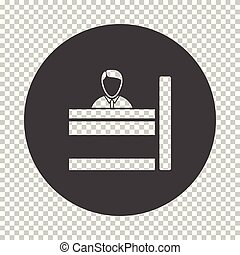 Bank clerk icon. Subtract stencil design on tranparency...