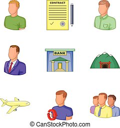 Bank clerk icons set, cartoon style