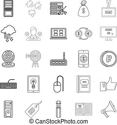 Bank clerk icons set, outline style