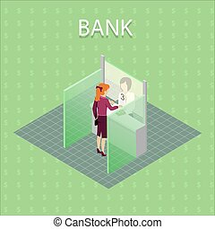 Bank Concept Vector in Isometric Projection.