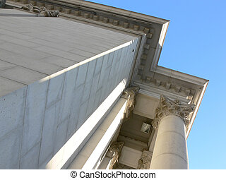 Bank Corner - Shot of part of an old bank building in...