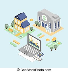 Bank Credit and Home Loan Concept with Isometric House -...