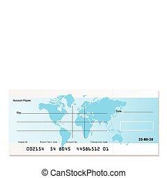 bank, czek, świat