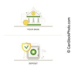 Bank, Deposit Vault Icons
