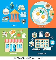 Bank, dining room, supermarket, business centre - Business...
