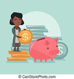 bank., directeur, mettre, porcin, africaine, monnaie