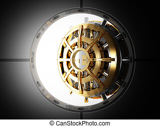 bank door vault 3d - bank vault door 3d view from safety...