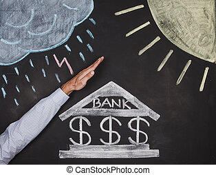 Bank drawing on a blackboard