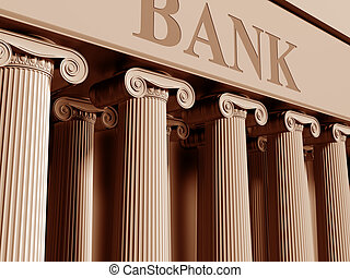 Bank - Illustration of a traditional bank with classic...