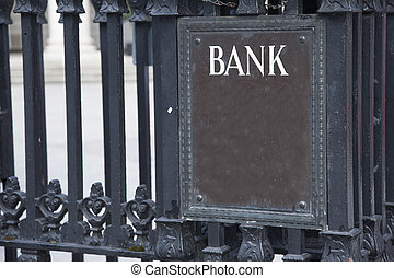 Bank Entrance Sign in Urban Setting